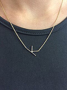 Sideways Single Initial Necklace In Gold