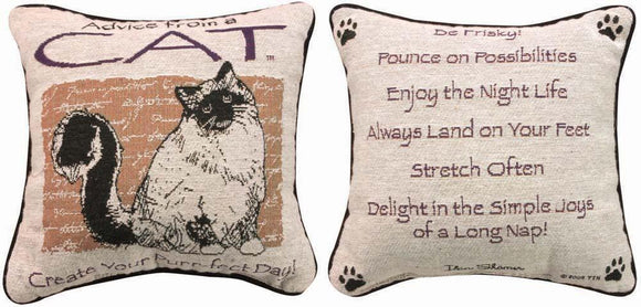 Advice From A Cat Reversible Tapestry Pillow