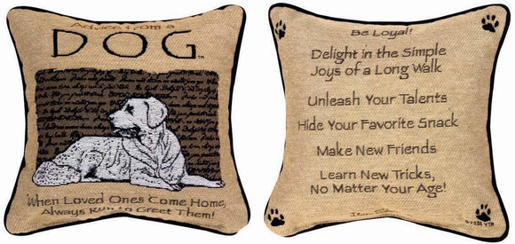 Advice From A Dog Reversible Tapestry Pillow