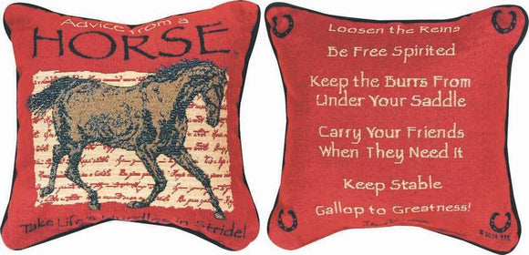 Advice From A Horse Reversible Tapestry Pillow