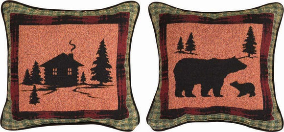Bear Lodge Cabin/Bear Pillows Set of 2