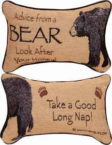 Advice From A Bear II Tapestry Word Pillow