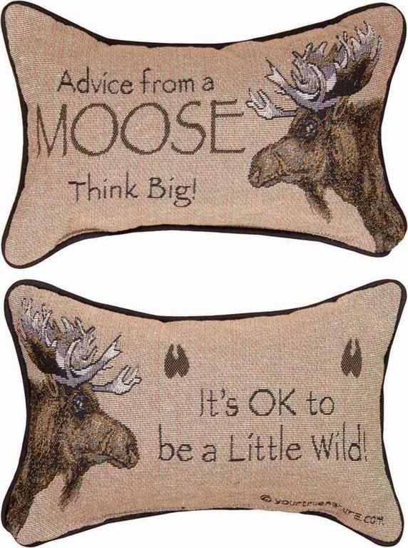 Advice From A Moose II Tapestry Word Pillow