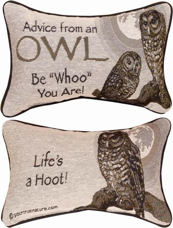 Advice From An Owl Tapestry Word Pillow