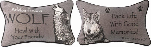 Advice From A Wolf II Tapestry Word Pillow