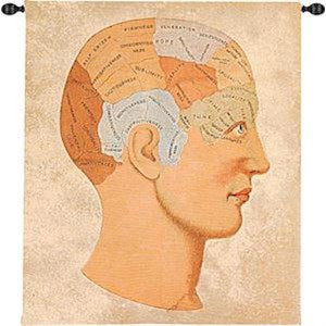 VINTAGE PHRENOLOGY GRANDE' TAPESTRY WALL HANGING