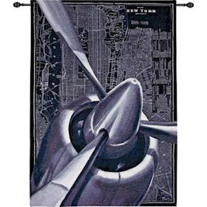VINTAGE PLANE 1 GRANDE' TAPESTRY WALL HANGING