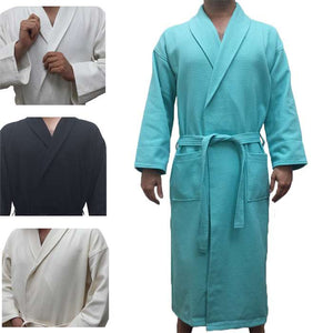 Waffle Diamond Shawl Collar Bathrobe