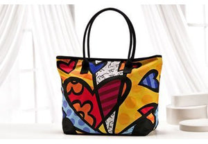 Romero Britto Hearts Large Tote Bag  With Zipper Top