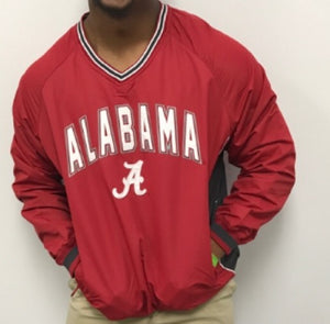 Alabama Embroidered Applique' Windbreaker Pullover In Crimson, Size: Large