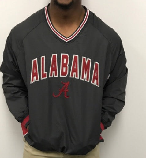 Alabama Embroidered Applique' Windbreaker Pullover In Charcoal Grey, Size: Large