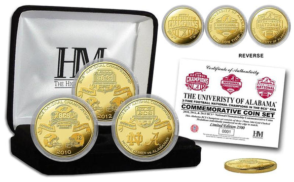 Alabama 2012 BCS National Champions 3 Gold Coin Set