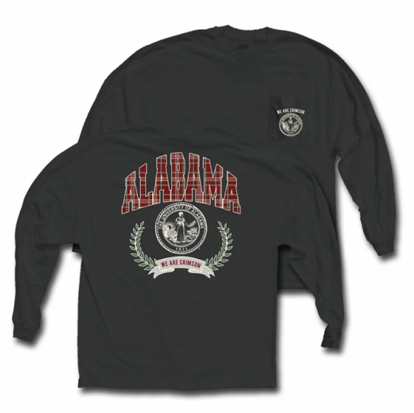 Alabama Charcoal Grey Comfort Colors Plaid Print Long Sleeve Tee
