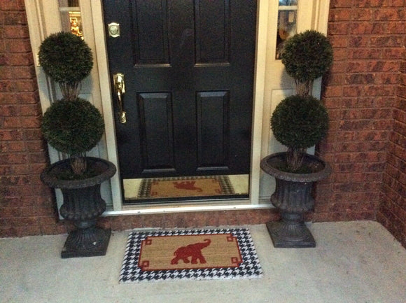University of Alabama Crimson Tide W/Red Elephant & Houndstooth Rug/Door Mat
