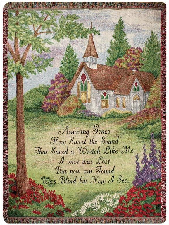 AMAZING GRACE WITH CHURCH TAPESTRY THROW