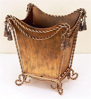 Antique Gold Iron Swag & Tassel Waste Basket