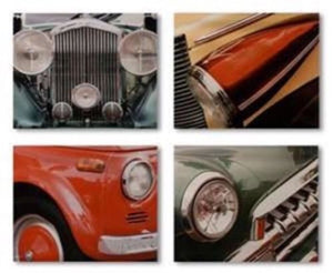 VINTAGE AUTOMOBILE CAR HEADLIGHTS ON CANVAS SET OF 4