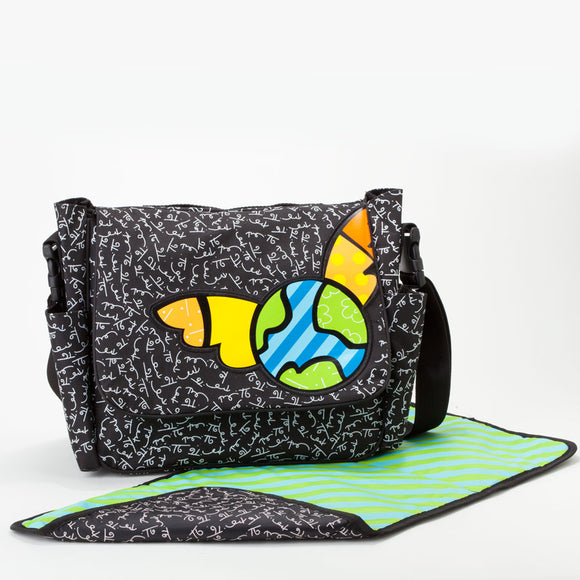 Romero Britto Messenger Style Diaper Bag With Changing Pad