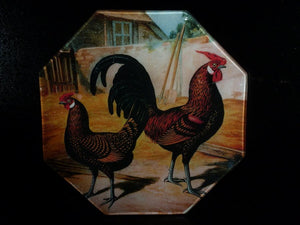 Goudlaken Bantams Roosters Octagon Decoupage Tray