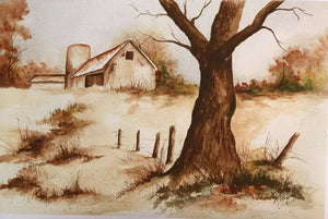 "Limited Edition Numbered Painting Print ""Barn Silo In Fall"""