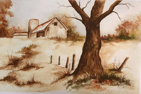 "Limited Edition Numbered Painting Print ""Barn Silo In Fall"