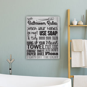 "Personalized ""Bathroom Rules"" White Canvas Sign"