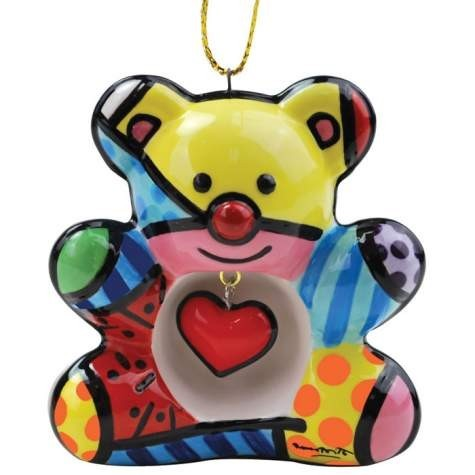 ROMERO BRITTO ORNAMENT- TEDDY BEAR
