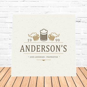 "Personalized ""Beer Mugs"" Canvas Sign"