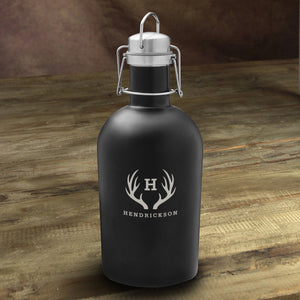 Personalized Stainless Black Matte Growler With Antler Monogram