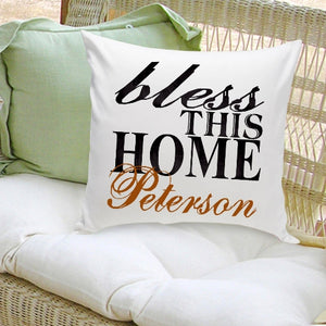 "Personalized ""Bless This Home"" Throw Pillow"