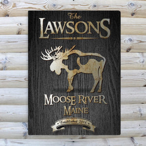 "Personalized Black Wood-Grain ""Moose"" Cabin Canvas Sign"