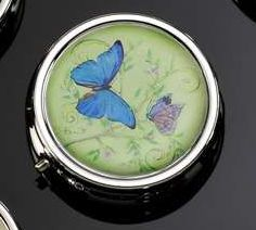BLUE BUTTERFLY PILL BOX WITH DIVIDERS & MIRROR