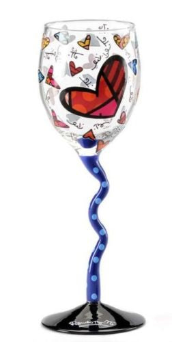 ROMERO BRITTO CROOKED STEM WINE GLASS- DARK BLUE