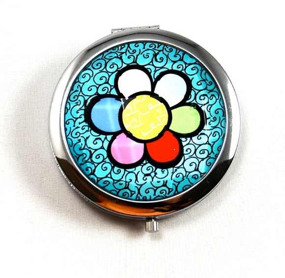 ROMERO BRITTO COMPACT WITH MIRRORS- BLUE WITH FLOWER DESIGN