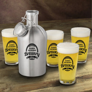 Personalized Stainless Steel Beer Growler with Pint Glass Set- Brewery Design