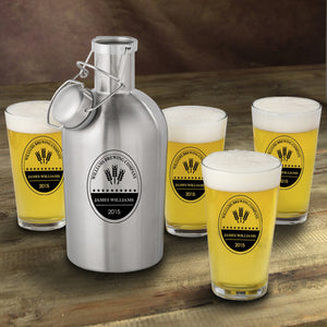 Personalized Stainless Steel Beer Growler with Pint Glass Set- Brewing Company Design