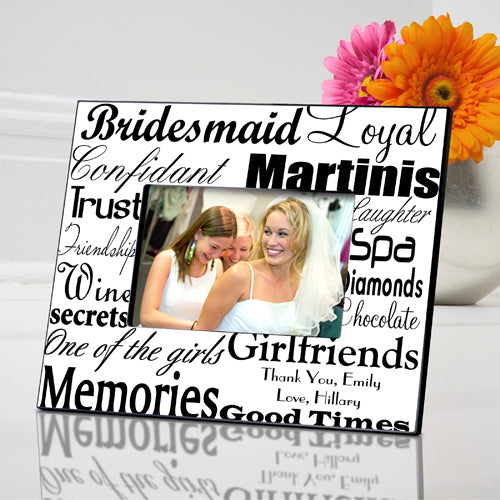 Personalized Black on White Bridesmaid Frame