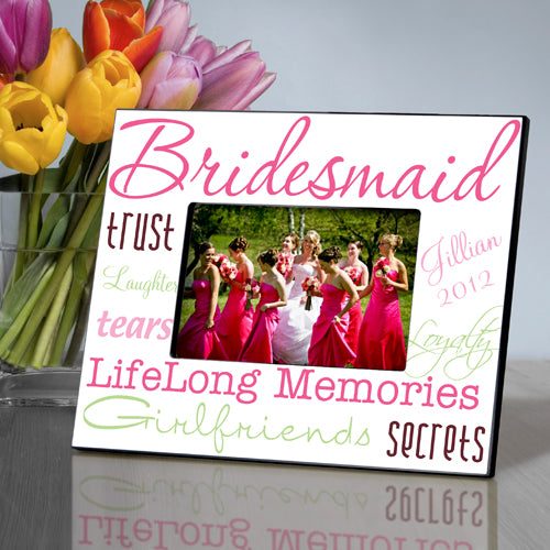 Personalized Bridesmaid Pleasantly Pink Picture Frame