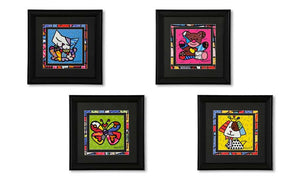 ROMERO BRITTO SET OF 4 BLACK FRAMED ANIMAL ICONS WALL ART