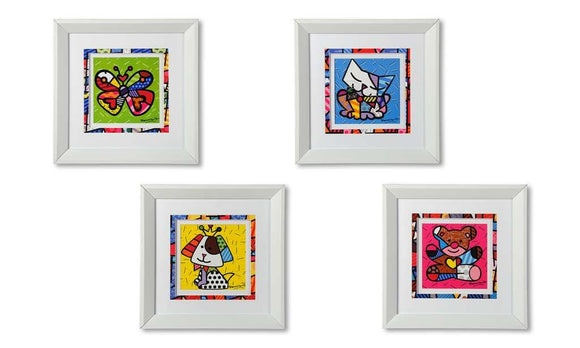 ROMERO BRITTO SET OF 4 WHITE FRAMED ANIMAL ICONS WALL ART