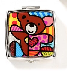 ROMERO BRITTO SQUARE TEDDY BEAR PILL BOX W/ MIRROR & DIVIDERS