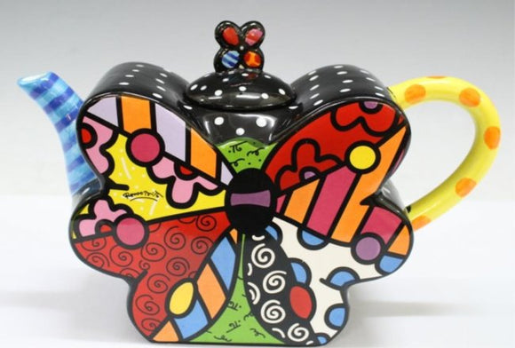 ROMERO BRITTO CERAMIC BUTTERFLY SHAPED TEAPOT