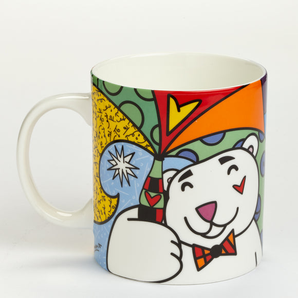 Romero Britto Polar Bear With Coca-Cola Mug