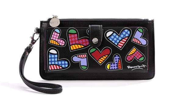 ROMERO BRITTO CLUTCH WALLET- BLACK WITH MULTI HEARTS
