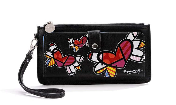ROMERO BRITTO CLUTCH WALLET- BLACK WITH FLYING HEARTS