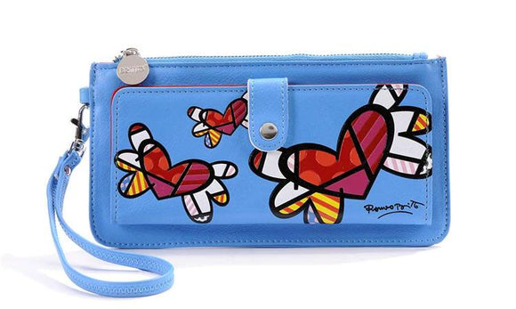 ROMERO BRITTO CLUTCH WALLET- BLUE WITH FLYING HEARTS