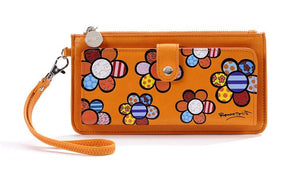 ROMERO BRITTO CLUTCH WALLET- ORANGE WITH FLOWERS