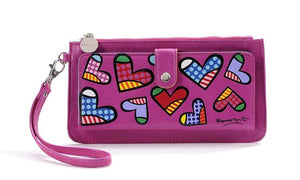 ROMERO BRITTO CLUTCH WALLET- PINK WITH MULTI HEARTS