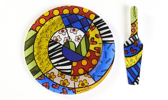 ROMERO BRITTO PAINTED GLASS CAKE PLATE & SERVER- SAFARI DESIGN