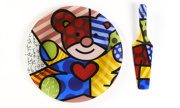 ROMERO BRITTO PAINTED GLASS CAKE PLATE & SERVER- TEDDY BEAR DESIGN